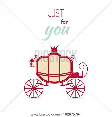 Carriage design vintage invitation luxury vector illustration. Retro wedding carriage fairytale royal silhouette. Romance coach love shape greeting card text. Cinderella princess elegance transport.