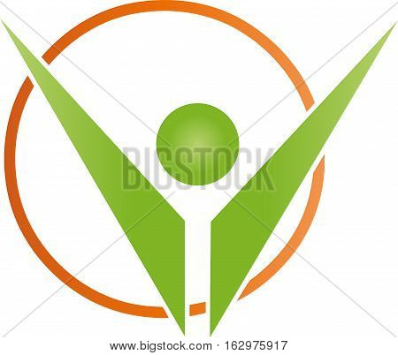 Human and circle, sport, fitness and sports logo