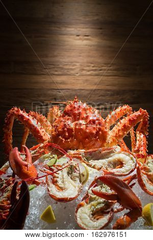 Close Up Of Alaskan King Crab And Lobster