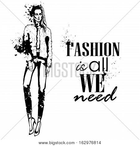 Portrait of trendy look girl. Hand drawing by splashes. Fashion is all we need.