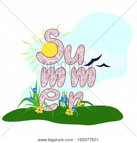 hand-drawn illustration multicolored decorative inscription summer with the  sun, flowers and grass