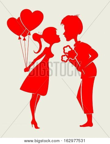 Romantic silhouettes of a loving couple, a guy and girl with a bouquet of flowers and balloons in hand