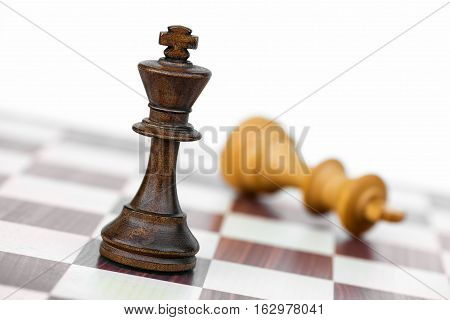 Black Chess King Check White On Chessboard