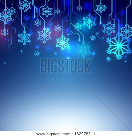 Circuit Blue lines with Snowflake Abstract Technology Background. Christmas and Technology concept Design