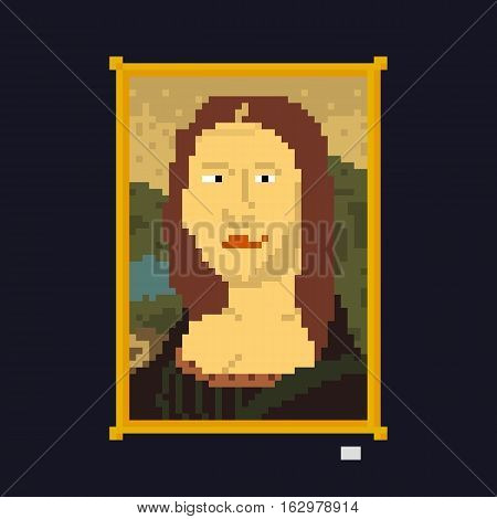 Pixel art style vintage drawing lady masterpiece vector illustration
