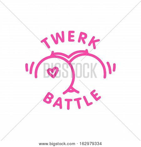 Twerk battle logo template isolated vector cartoon style shaking booty dance