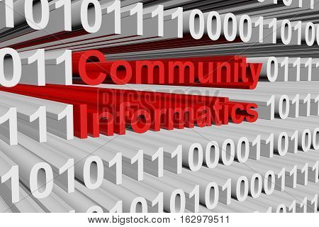 Community informatics in the form of binary code, 3D illustration