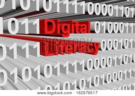 Digital literacy in the form of binary code, 3D illustration