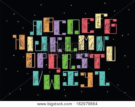 Bright colorful alphabet english letters from A to Z on black background. Hand drawn font handwritten with ink outlines and hatching in bold parts. Flat vector abc capital letters good for lettering
