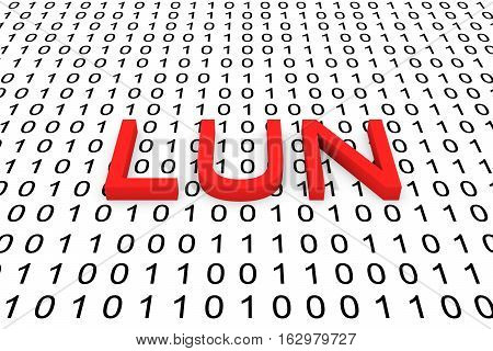 LUN in the form of binary code, 3D illustration