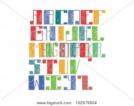 Bright colorful alphabet english letters from A to Z. Hand drawn font handwritten with ink outlines and hatching in bold parts. Flat vector abc capital letters good for lettering