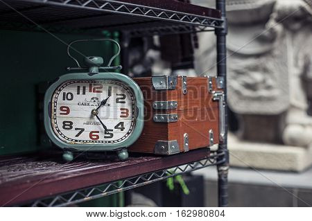 Hong Kong, China - November 11, 2014: The retro alarm clock in an antique shop