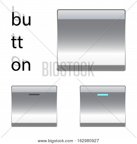 Metallic Silver square button. On/off button indicator