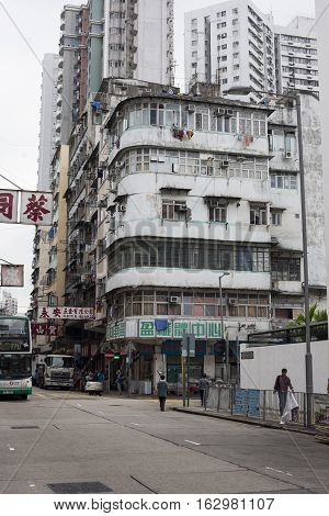 Hong Kong, China - November 12, 2014 Old multi-storey building