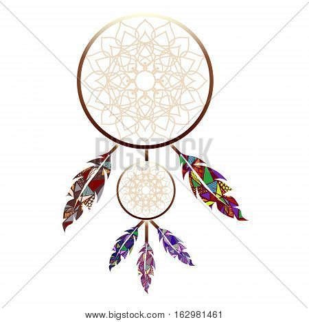 Indian dreamcatcher two dreamchatchers abstract feathers on white background