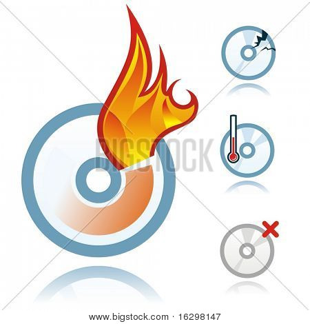 Collection of vector disc icons - burning
