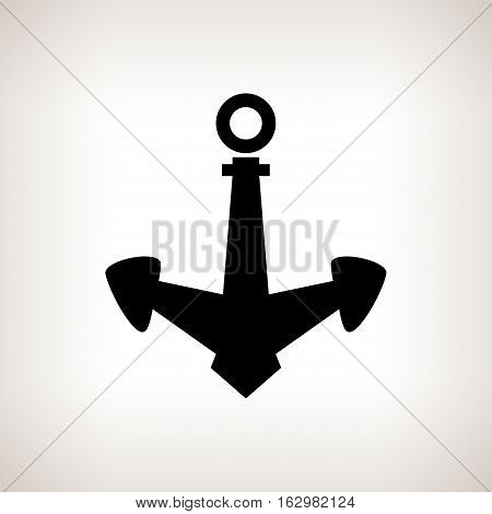 Silhouette anchor on a light background, black and white illustration