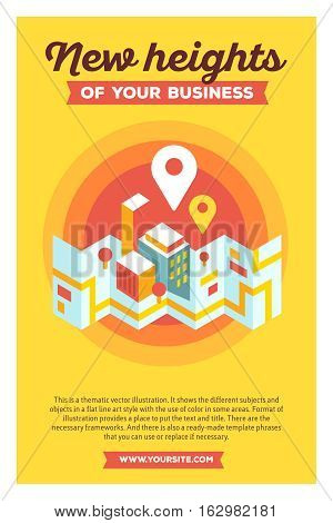 Vector Creative Colorful Illustration Of Modern City Map And Geo Signs With Header New Heights Of Yo