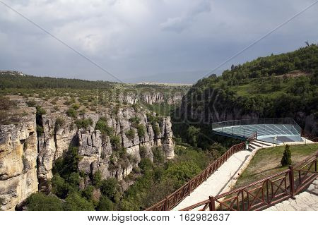 Crystal Terrace (cam teras in Turkish) on incekaya (Tokatli) Canyon in Safranbolu/Turkey. This platform has 80 meters height. and incekaya canyon has wonderful trekking racecourse.