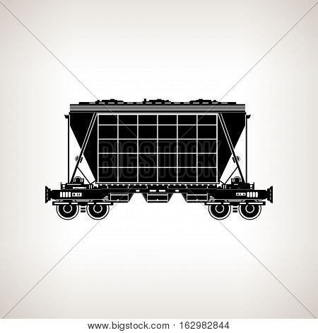 Silhouette hopper car for mass transit fertilizer cement grain and other bulk cargo on a light background, black and white illustration