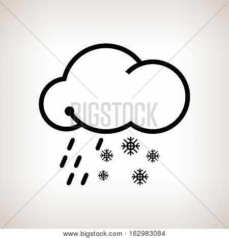 Sleet, cloud with snowflakes and rain  on a light background , black and white   illustration