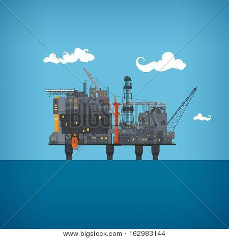 Offshore oil platform  in the  blue ocean. Helipad, cranes,  derrick, hull column , lifeboat , workshop, manifold, gas lift module