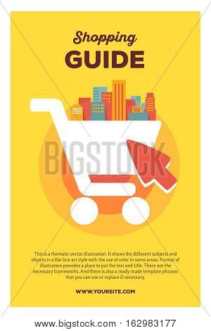 Vector Creative Colorful Illustration Of Shopping In The Big City With Header Shopping Guide And Tex