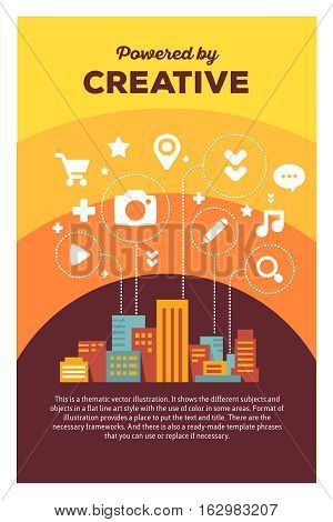 Vector Creative Colorful Illustration Of Modern City With Icons Of Daily Activity, Header Powered By