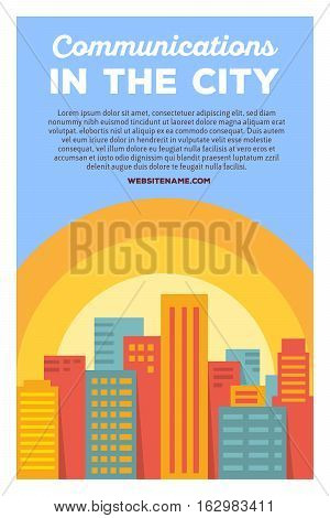 Vector Creative Colorful Illustration Of Modern Bright Big City With Header Communications In The Ci