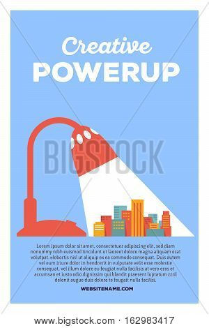 Vector Creative Colorful Illustration Of Modern Bright Big City In The Lamplight With Header Creativ