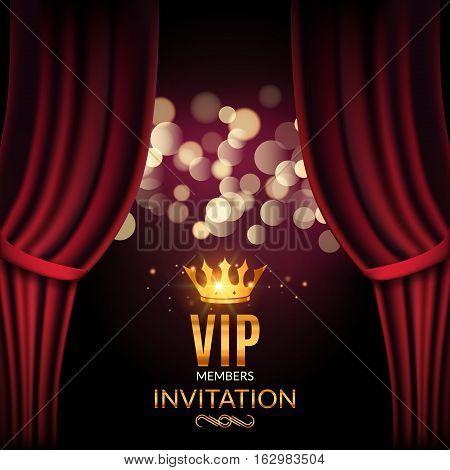 Vip invitation luxury poster design. Golden word VIP premium invitation.