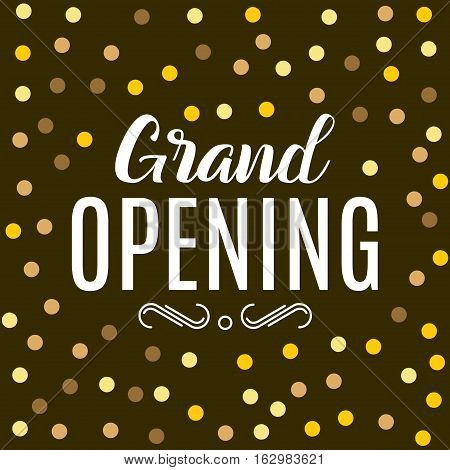 Grand Opening ceremony gold background. Golden dust particles design poster.