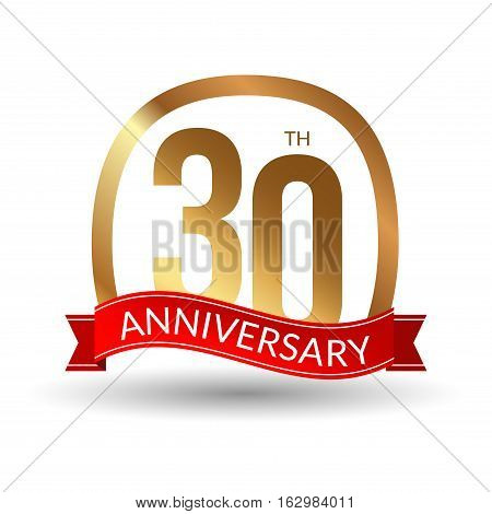 30 years anniversary experience gold label with blue ribbon, vector illustration.