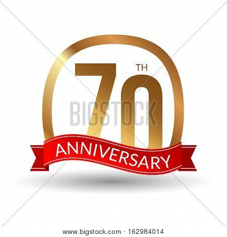 70 years anniversary experience gold label with red ribbon, vector illustration.