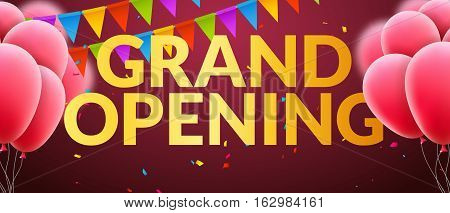 Grand Opening event invitation banner with balloons and confetti. Golden words grand opening poster template design.