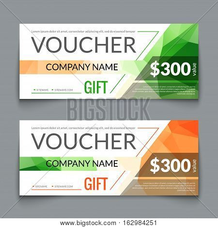 Gift voucher market offer template layout with colorful modern triangle business design. Certificate special discount buy coupon.
