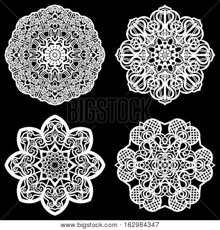 Set of design elements lace round paper doily doily to decorate the cake template for cutting snowflake greeting element metal plate cut by laser vector illustrations