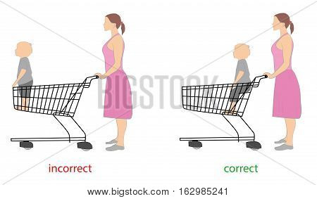 correct and incorrect position of the child while driving at grocery cart. vector illustration