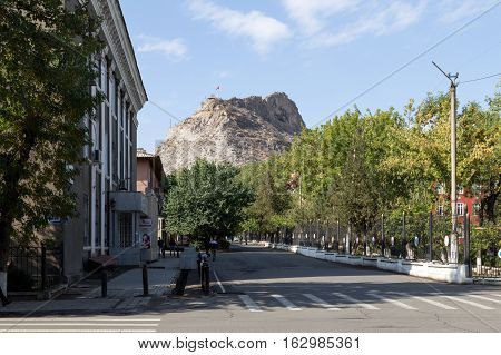 Osh, Kyrgyzstan - October 05, 2014: View of the Sulayman Too Mountain