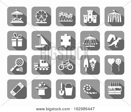 Children's games and entertainment, icons, gray, vector. Vector icons of items and objects for children. Children's rest. White images on a gray background with shadow.