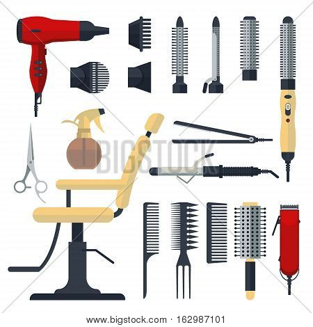Set of hairdresser objects in flat style isolated on white background. Hair salon equipment and tools logo icons, hairdryer, comb, scissors, chair, hairclipper, curling, hair straightener.