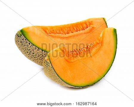 orange cantaloupe melon isolated on white background