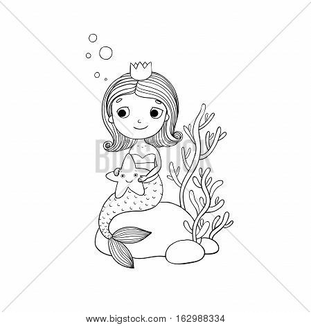 Beautiful little mermaid with a starfish sitting on a stone. Siren. Sea theme. isolated objects on white background. Vector illustration.