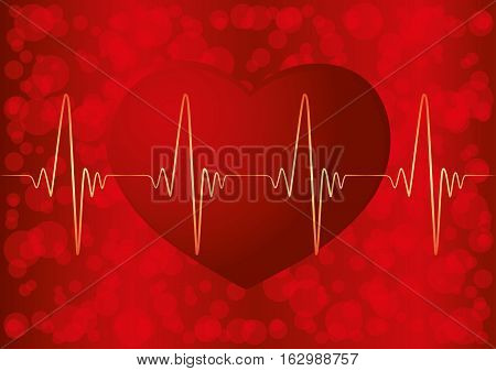 Red heart and pulse on a red background.