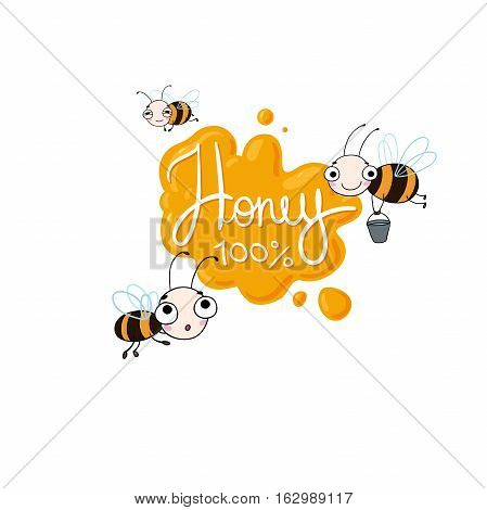 Set with cute cartoon bees. Vector illustration. lettering Honey . Natural healthy food production.