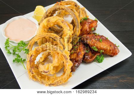 Onion Rings And Barbecue Wings