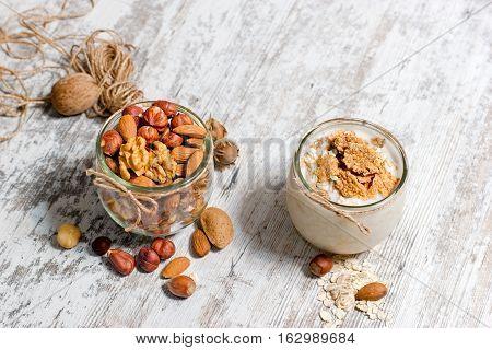 Healthy meal, healthy food - vegetarian food (oat meal and nuts)