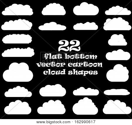Cloud vector icons isolated over black background cartoon vector clouds set