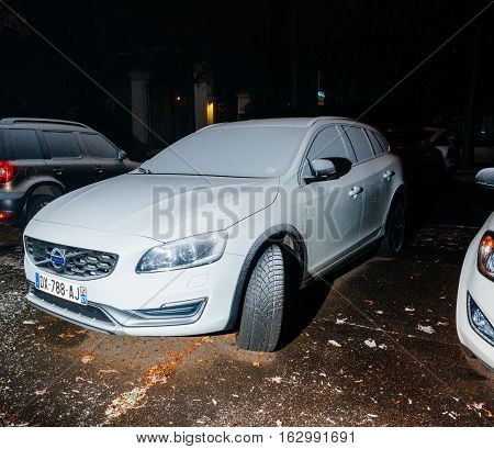 Volvo Wagon Car Covered With Snow On The Street