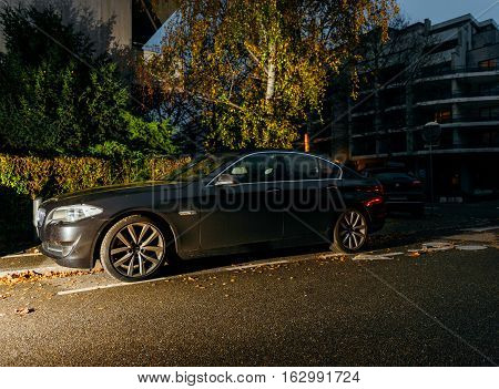Bmw Hybrid Car Parked In City